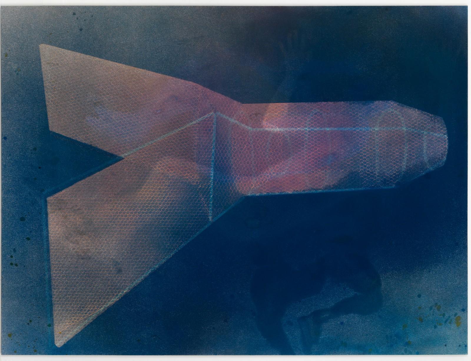 Kim Nekarda: Carcharodon Carcharias, 2010, vinyl color & body print on cotton, 150 x 200 cm, private collection