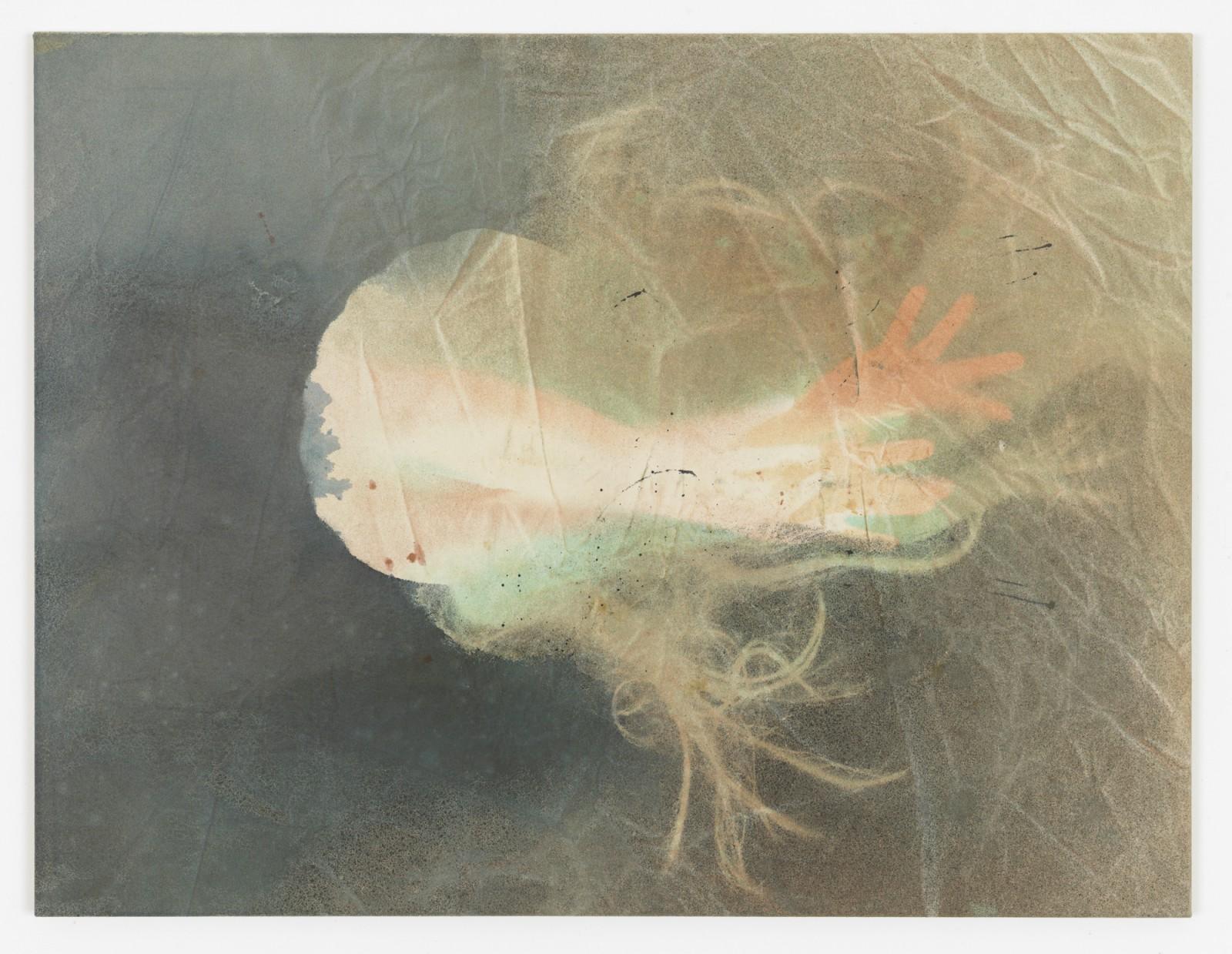 Kim Nekarda: untitled, 2015, vinyl color & body print on cotton, 80 x 105 cm