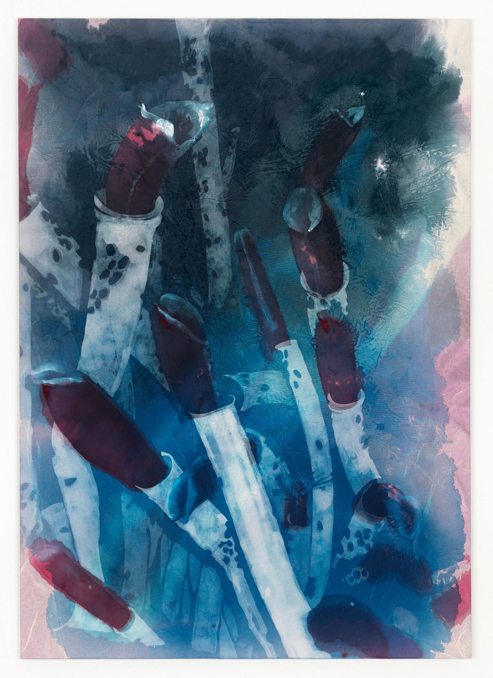 Kim Nekarda: es gibt eine andere welt, aber sie ist in dieser, 2011, vinyl color & body print on cotton, 170 x 120 cm