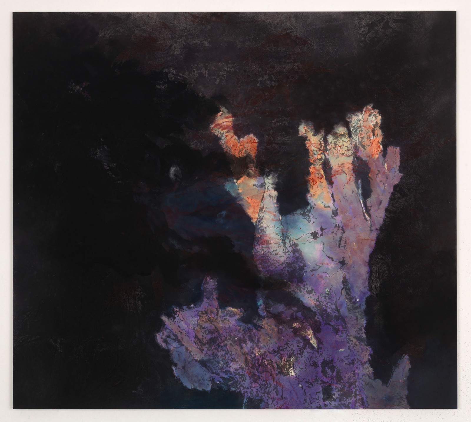 Kim Nekarda: I shall leave the world, I feel, with more satisfaction for having come to know you, 2014, vinyl color & body print on cotton, 170 x 190 cm