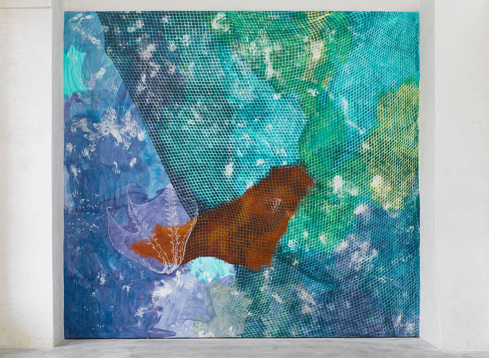 Kim Nekarda: Kein Mensch ist eine Insel, 2012, Wall Painting, Von einem Rätsel zum andern, Kunstverein Lingen Kunsthalle, 500 x 500 cm