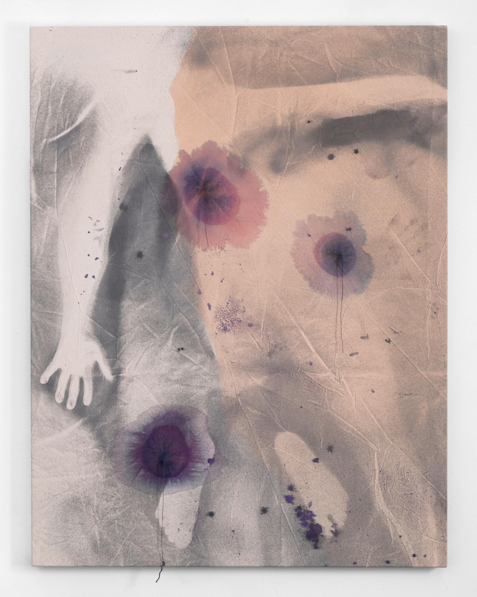 Kim Nekarda: untitled, 2012, vinyl color, thread & body print on cotton, 130 x 100 cm, private collection, berlin