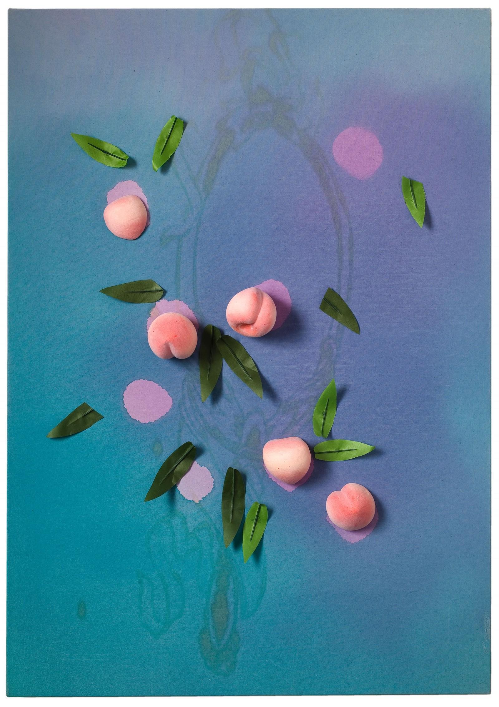 Kim Nekarda: Untitled, vinyl color, poppy oil & peaches on cotton, 100 x 70 cm, private collection, saarbruecken