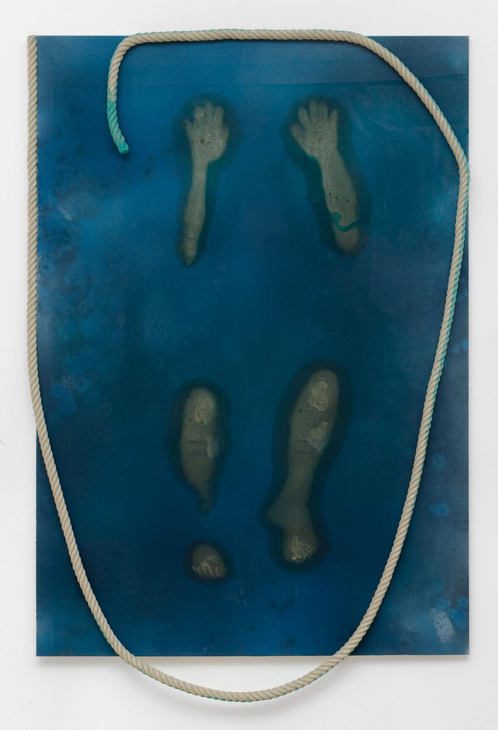 Kim Nekarda: wasser hat keinen balken, 2008, vinyl color, rope, poppy oil & body print on cotton, 218 x 143 cm