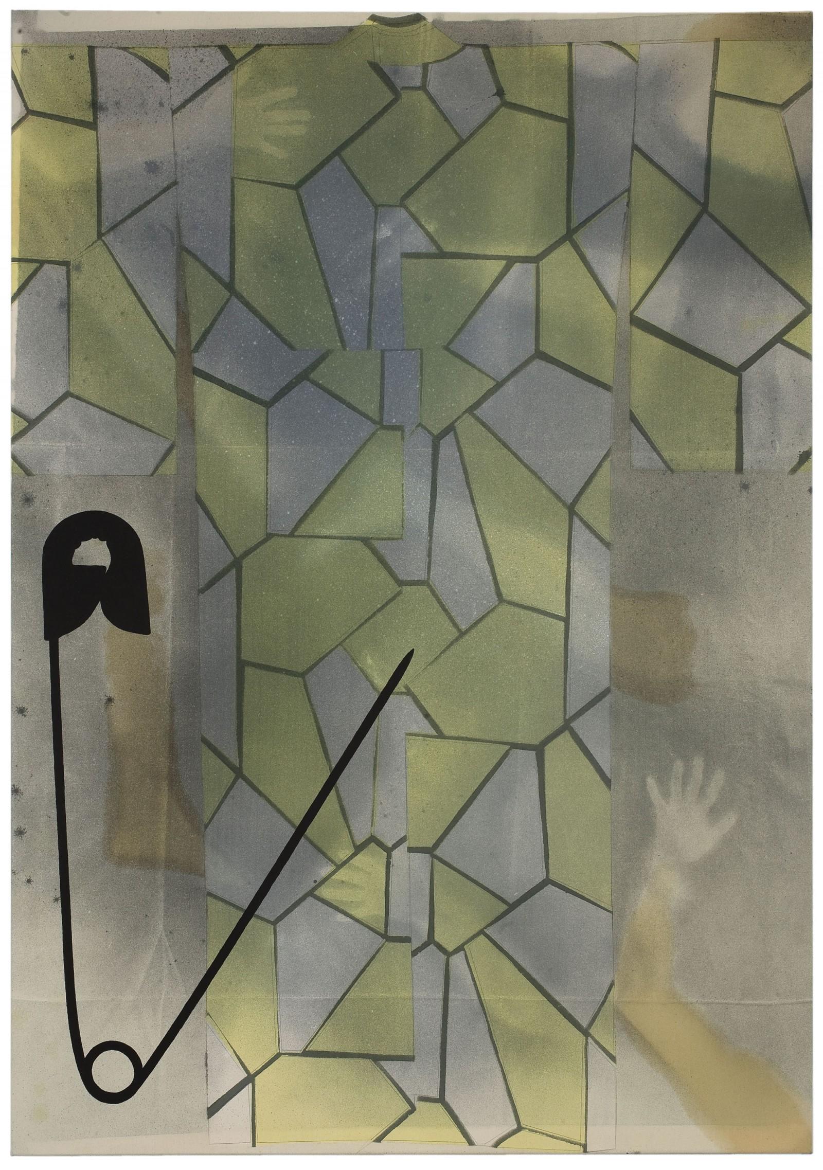Kim Nekarda: untitled, 2009, vinyl color, poppy oil & body print on cotton, 200 x 140 cm