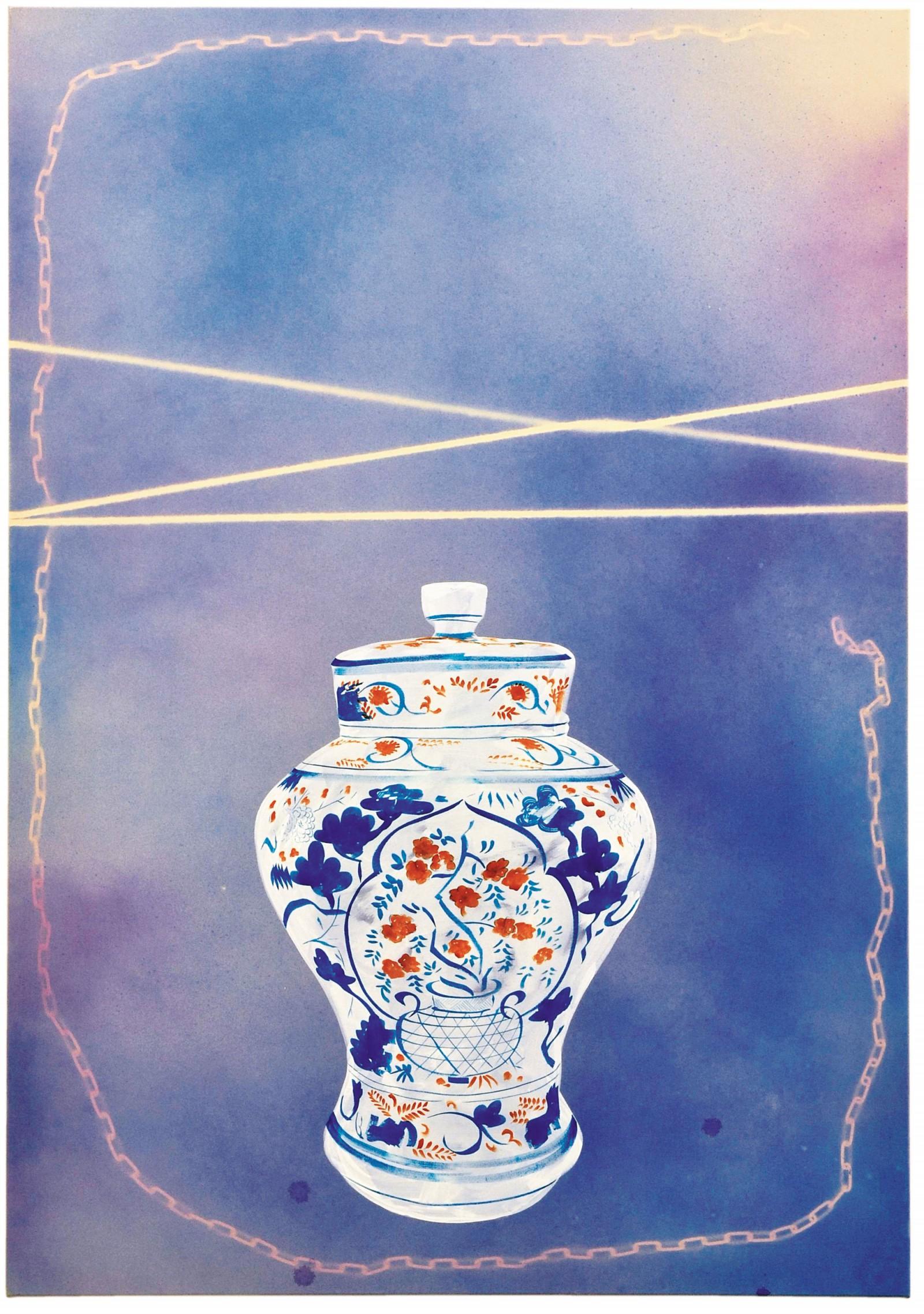 Kim Nekarda: denn ich wohne in einer kammer aus porzellan, 2007, vinyl color on cotton, 200 x 140 cm, private collection
