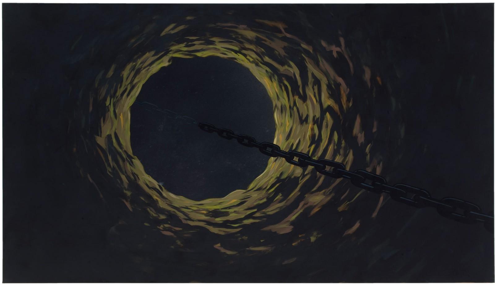 Kim Nekarda: untitled, 2006, vinyl color on cotton, 140 x 250 cm