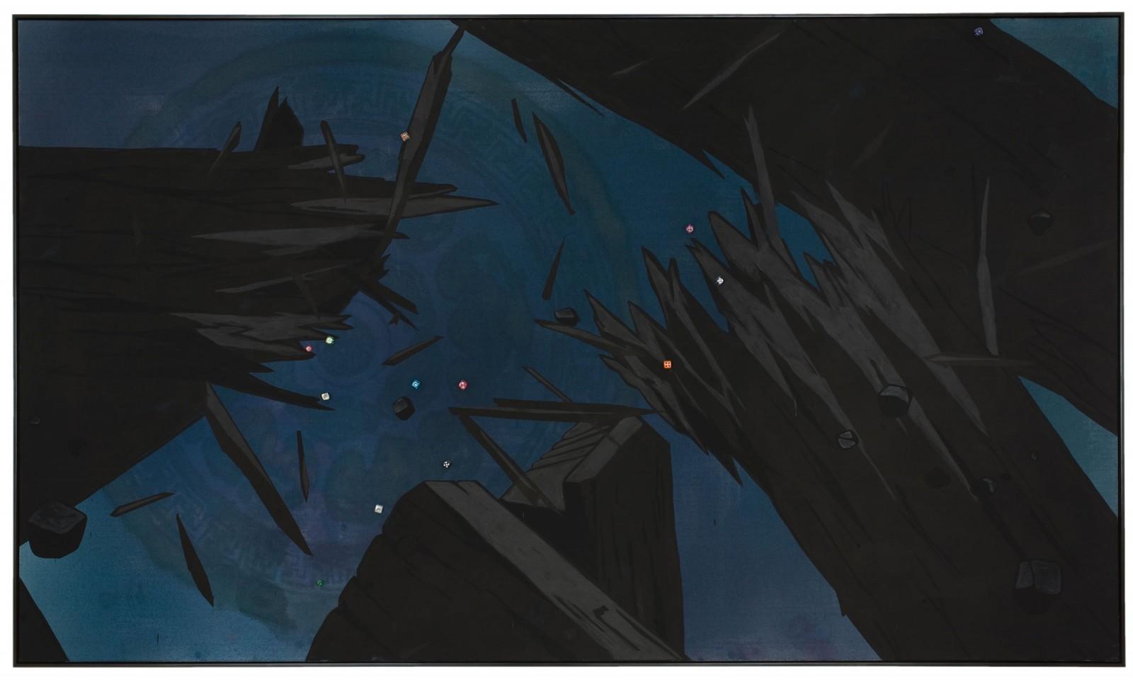 Kim Nekarda: wu fu ling men, 2008, vinyl color, poppy oil & dices on cotton, framed, 140 x 240 cm