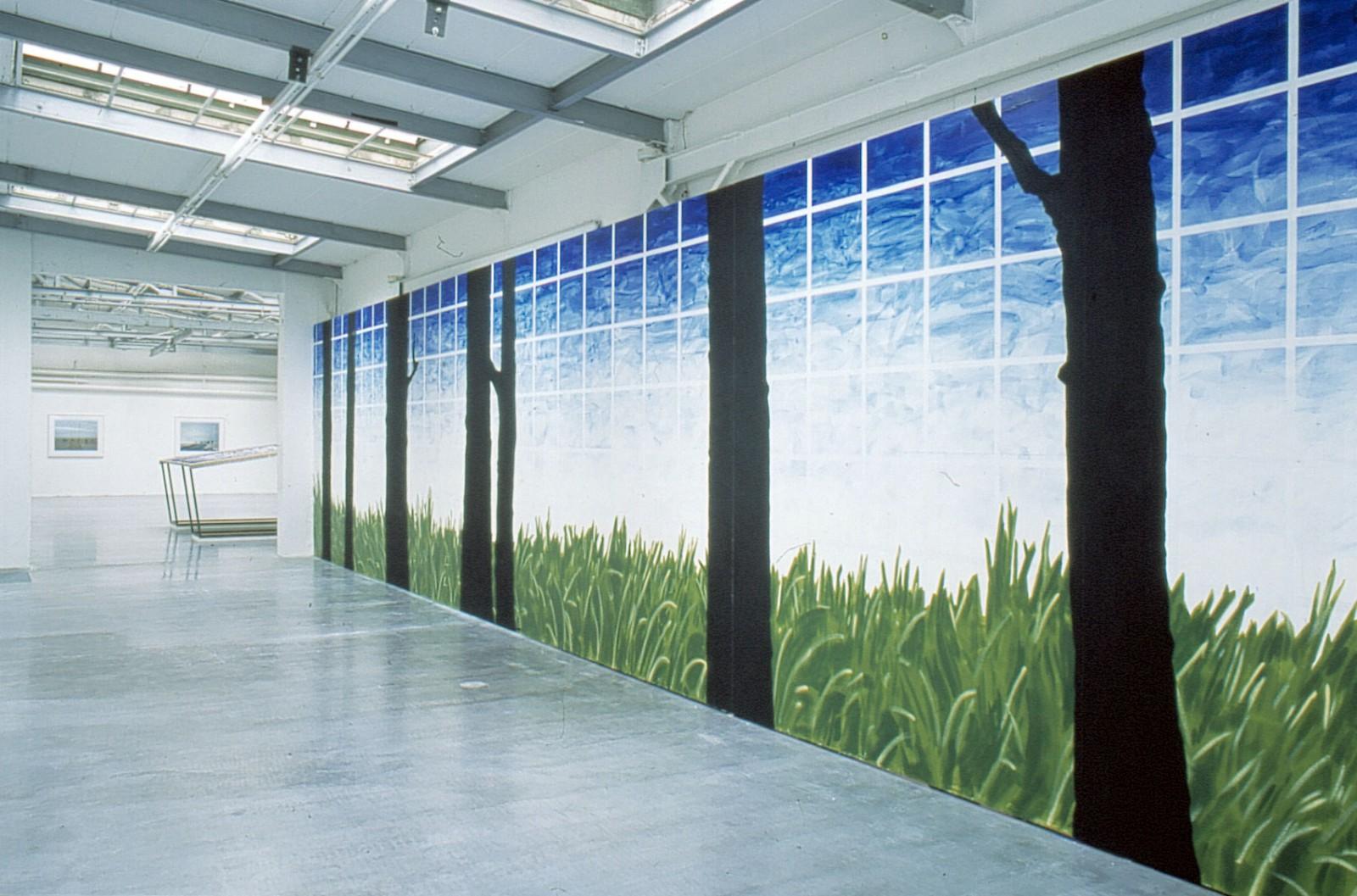 Kim Nekarda: I am the Island, 2002, Wall Painting, event horizon, Lothringer 13/Halle, München, 300 x 1470 cm