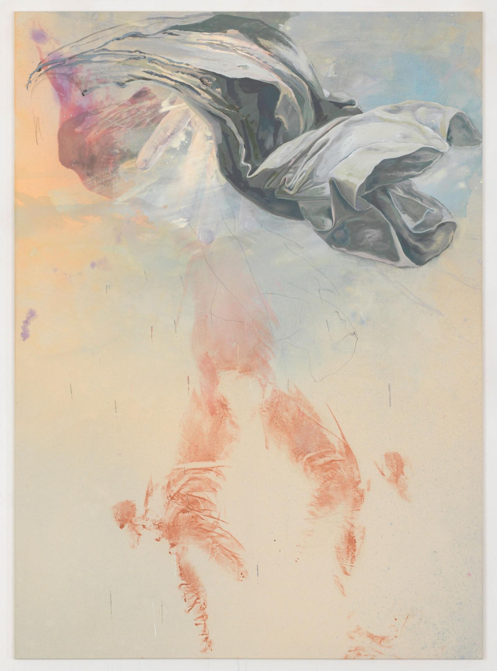 Kim Nekarda: untitled, 2016, vinyl color, pencil & body print on cotton, 180 x 130 cm