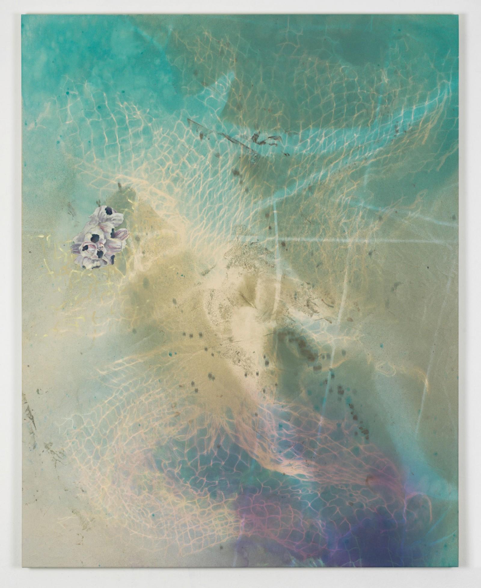 Kim Nekarda: untitled, 2015, vinyl color & body print on cotton, 190 x 150 cm