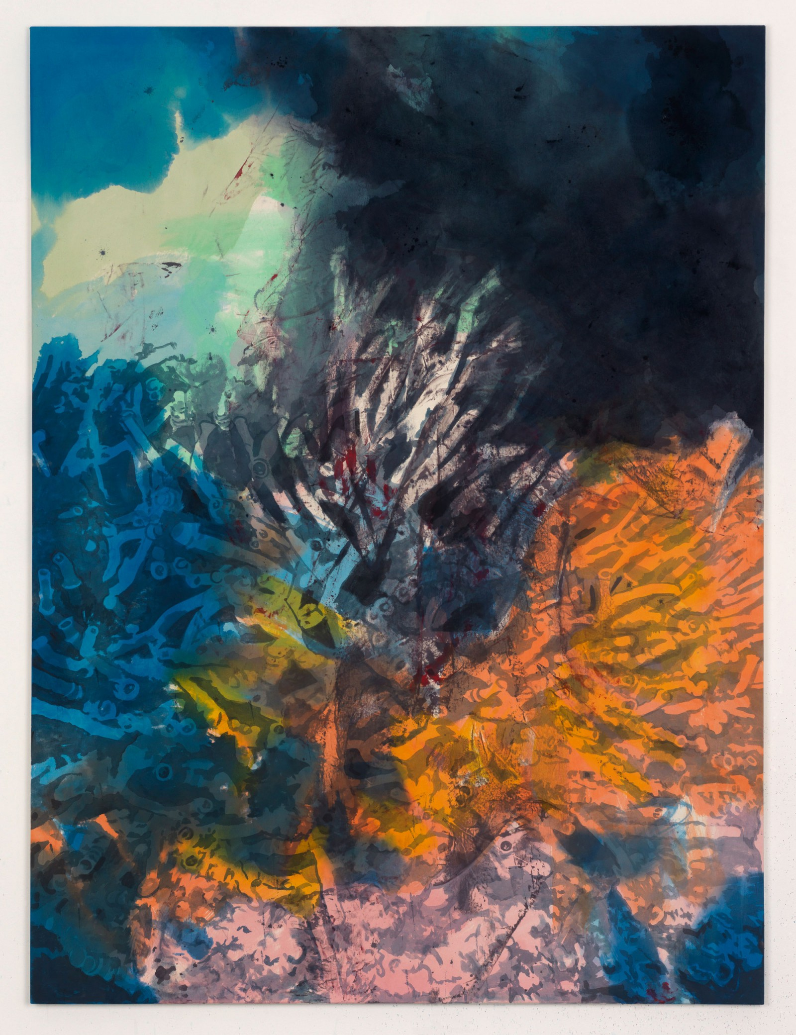 Kim Nekarda: teach me how to live, 2013, vinyl color & body print on cotton, 200 x 150 cm, private collection, Lingen