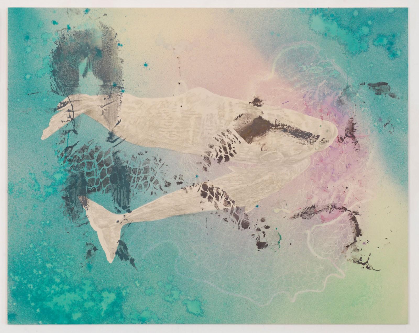 Kim Nekarda: untitled, 2016, vinyl color, pencil & body print on cotton, 140 x 180 cm