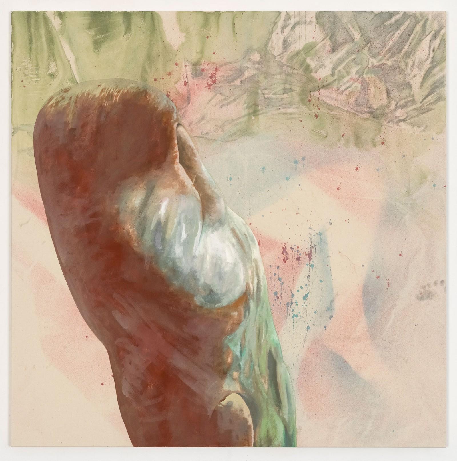 Kim Nekarda: untitled, 2018, vinyl color, oil colour & body print on cotton, 130 x 130 cm