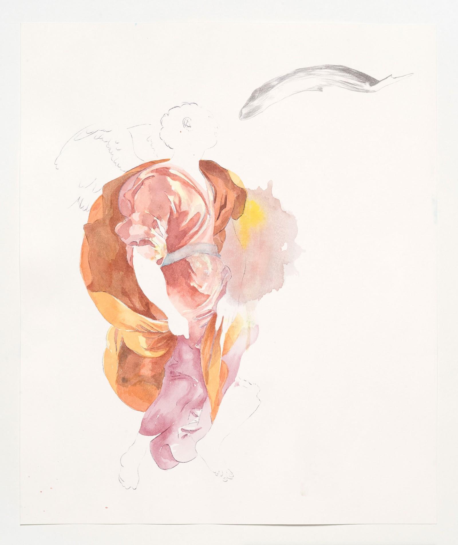 Kim Nekarda: untitled, 2019, carbon, pencil & watercolour on paper, 50 x 42 cm