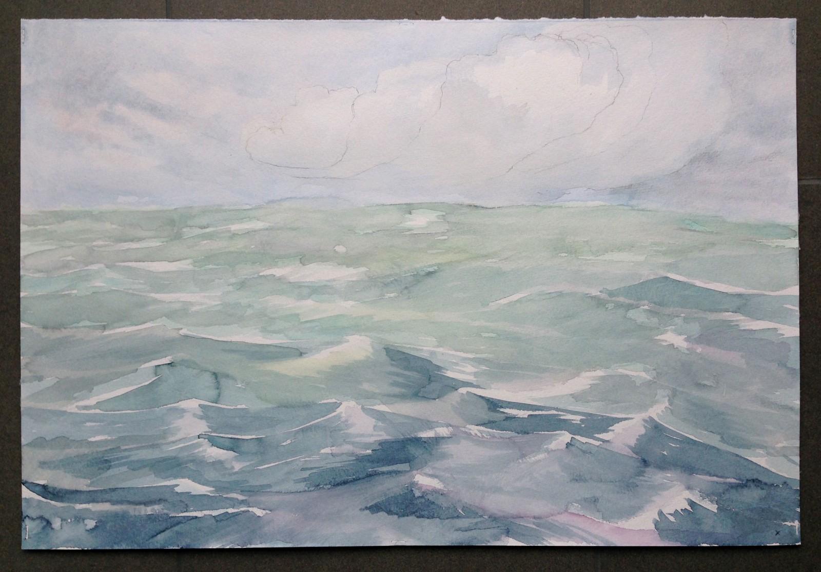 Kim Nekarda: fs heincke, tag ix , 2017, watercolour on paper, 39 x 56 cm, private collection berlin