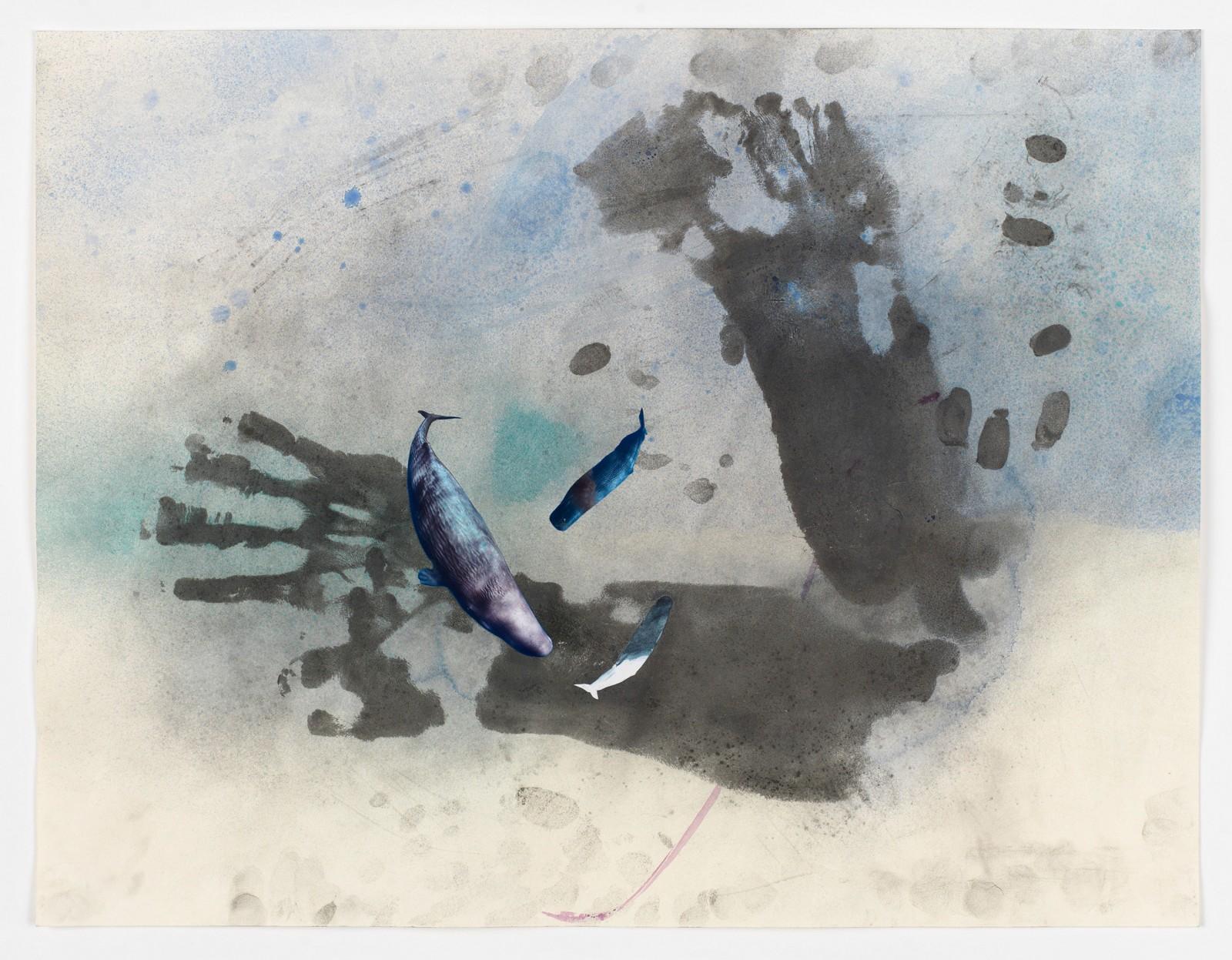 Kim Nekarda: untitled, 2016, body print, photocopy & watercolour on paper, 54 x 70  cm