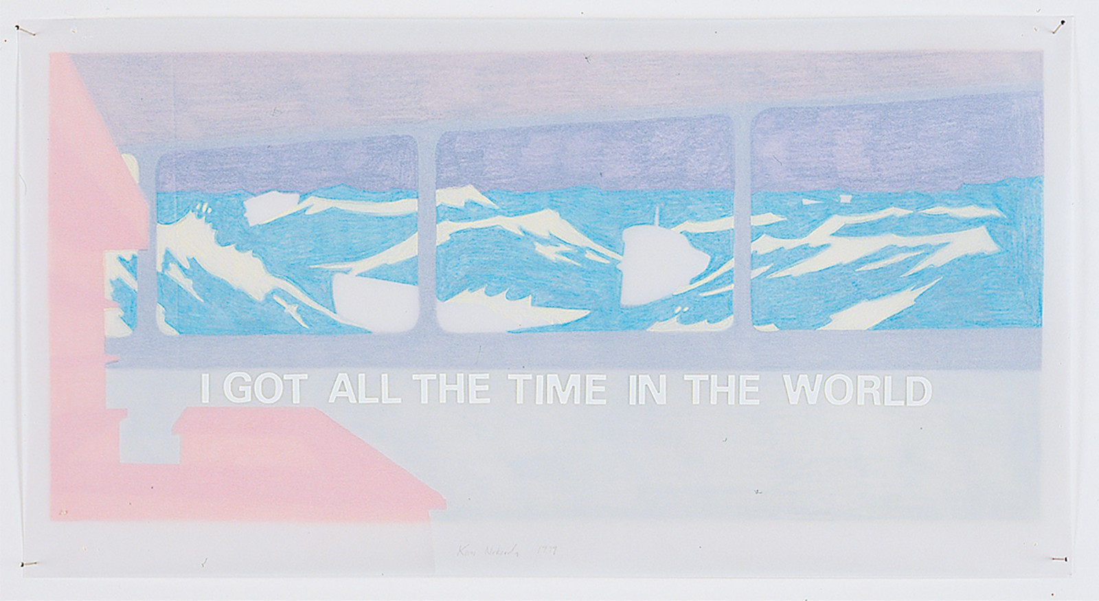 Kim Nekarda: Untitled, 1999, pencil, stickers, 4 layers of tracing paper, 19 x 36 cm