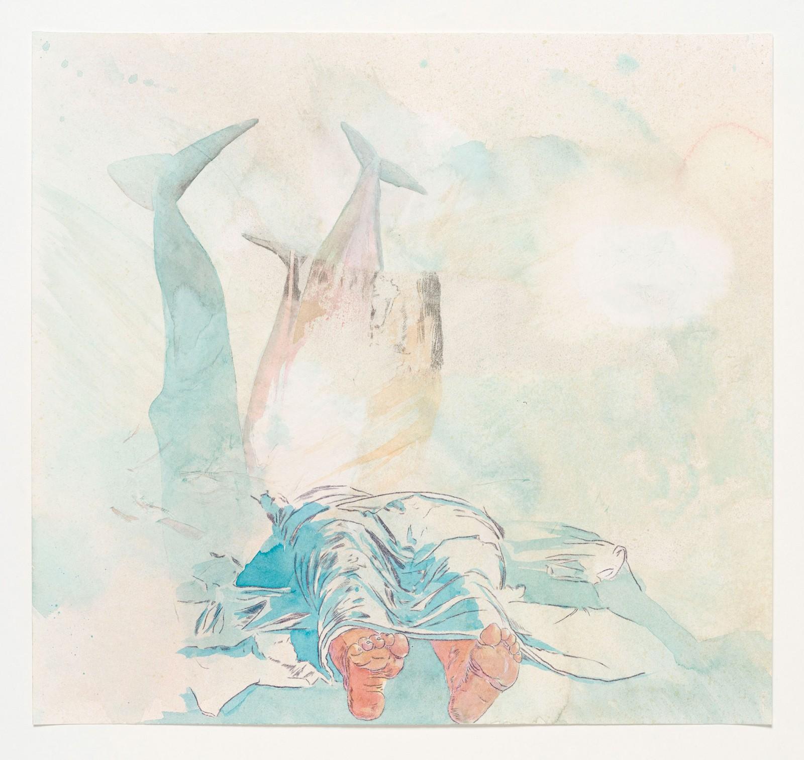 Kim Nekarda: untitled, 2019, carbon & watercolour on paper, 42 x 45 cm