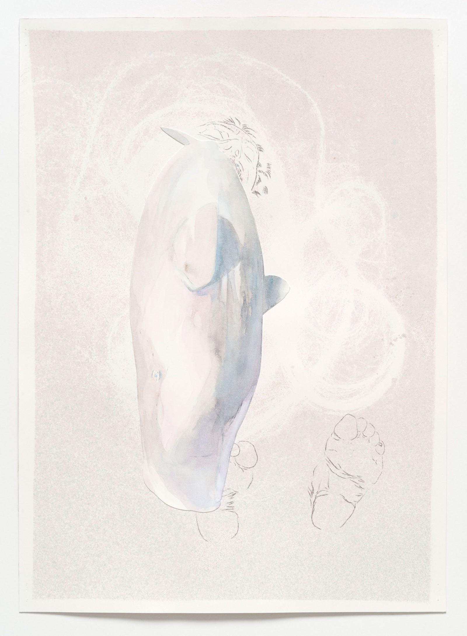 Kim Nekarda: untitled, 2019, carbon & watercolour on paper, 39 x 28 cm