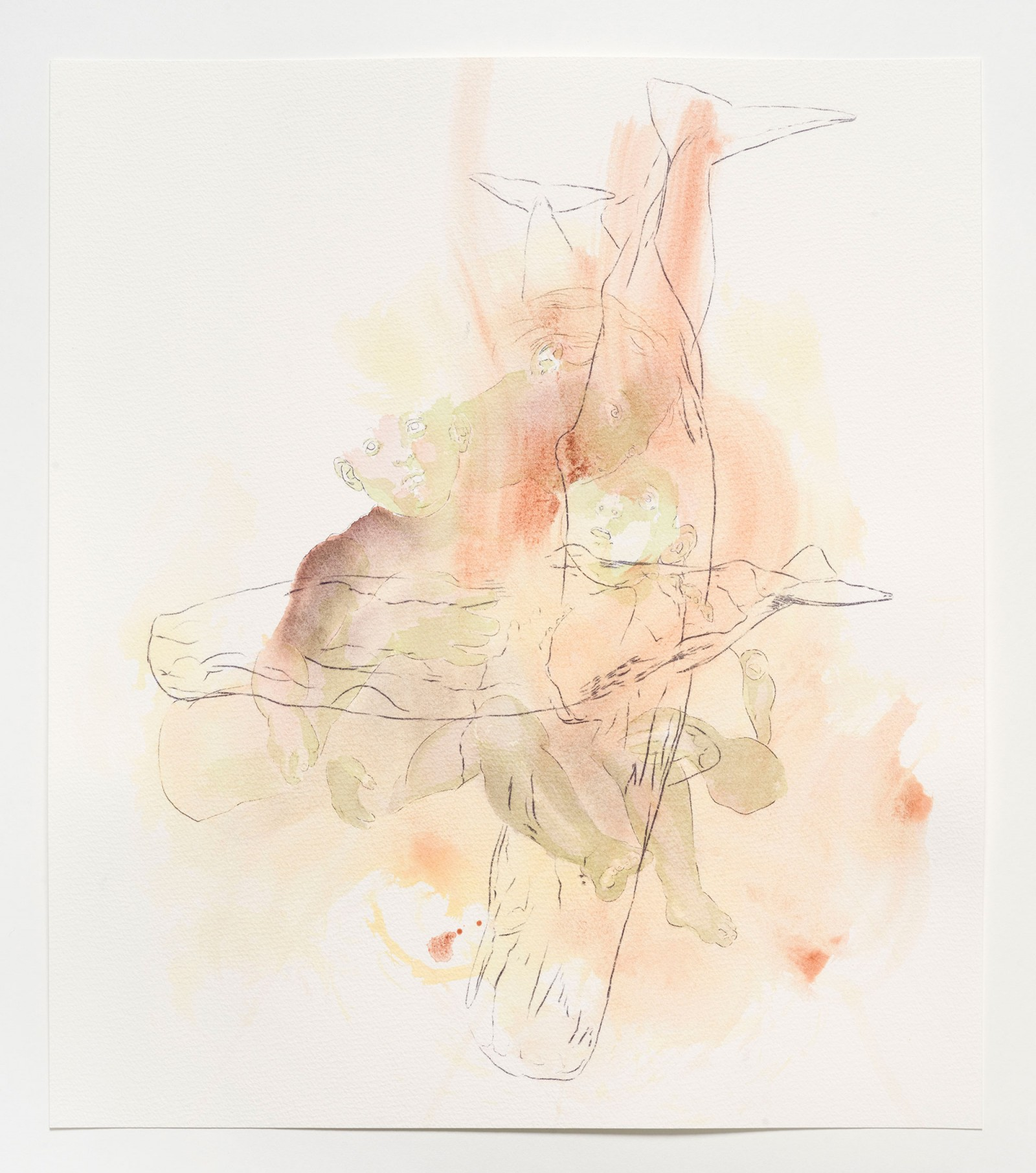 Kim Nekarda: untitled, 2019, carbon & watercolour on paper, 48 x 42 cm