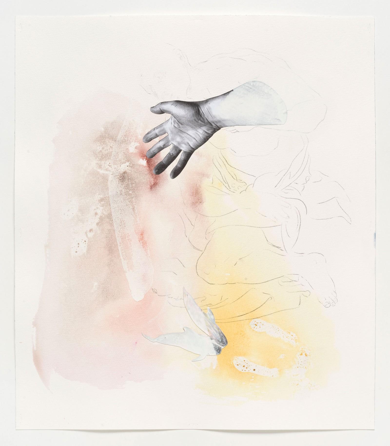 Kim Nekarda: untitled, 2019, carbon, photocopy & watercolour on paper, 53 x 46 cm