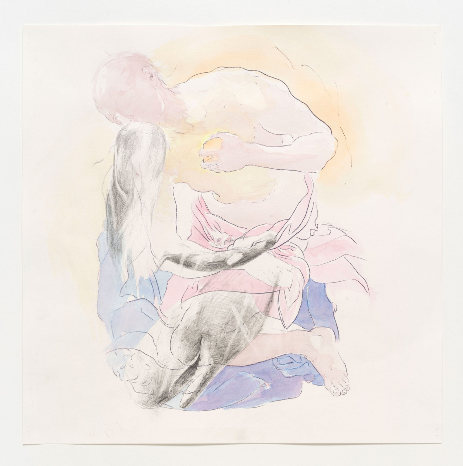 Kim Nekarda: untitled, 2019, carbon, pencil & watercolour on paper, 42 x 42 cm, private collection berlin