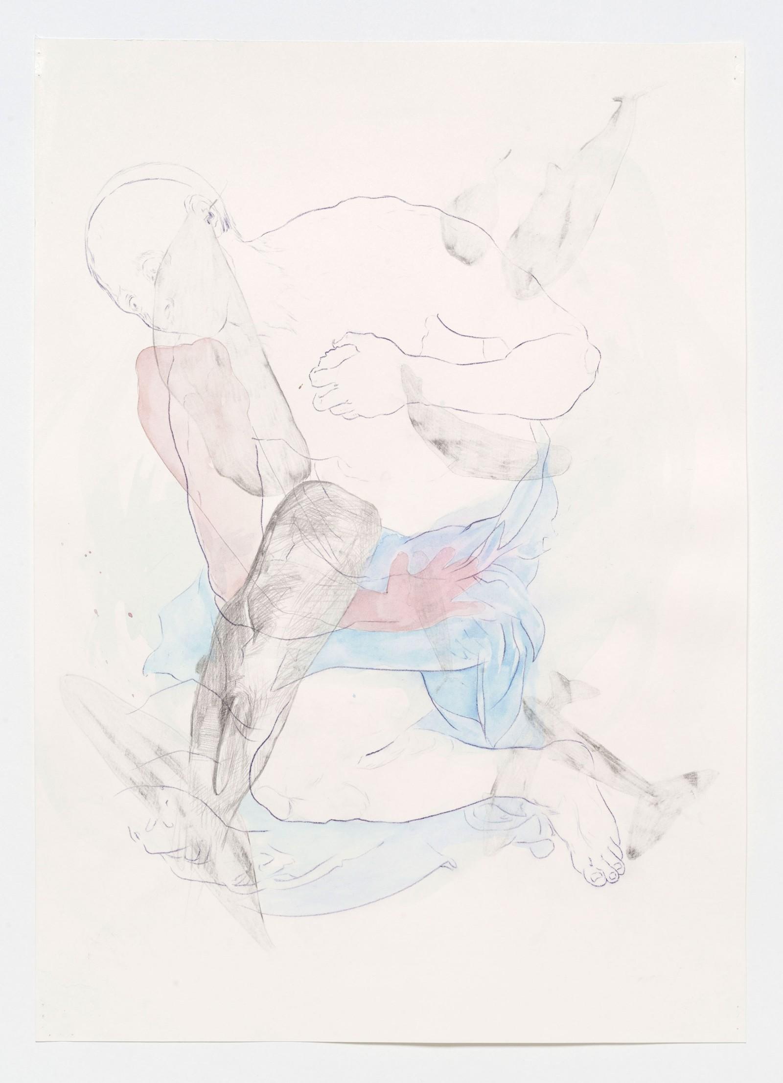 Kim Nekarda: untitled, 2019, carbon, pencil & watercolour on paper, 48 x 34 cm