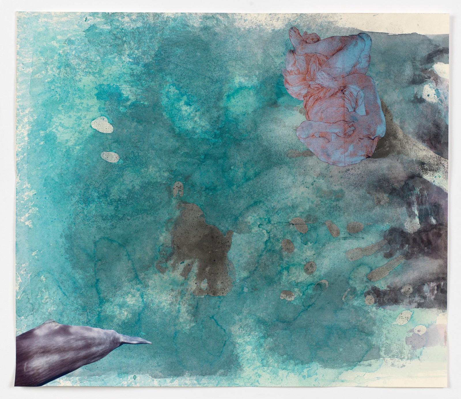 Kim Nekarda: untitled, 2016, body print, photocopy & watercolour on paper, 53 x 61 cm