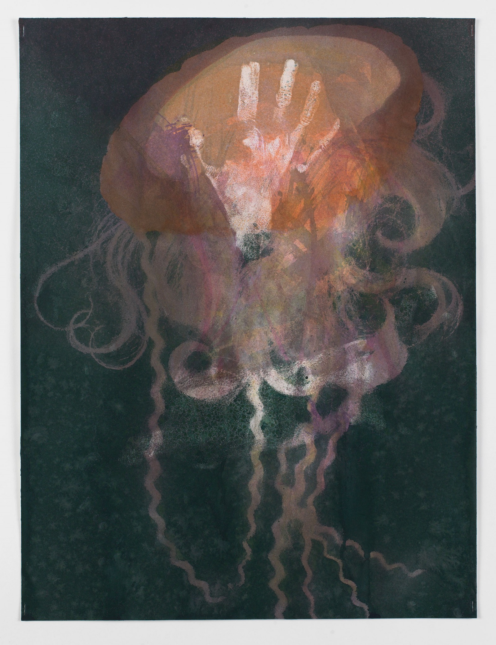 Kim Nekarda: untitled, 2015, body print, watercolour & vinyl color on paper, 61 x 46 cm