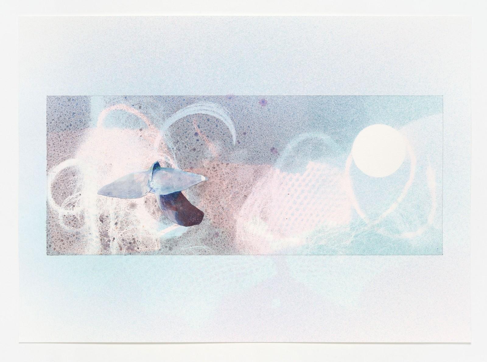 Kim Nekarda: untitled, 2019, carbon, ballpen & watercolour on paper, 41 x 57 cm