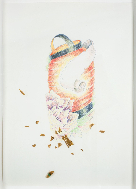 Kim Nekarda: untitled, 2008, crayon & glass vial on paper, 42 x 30 cm