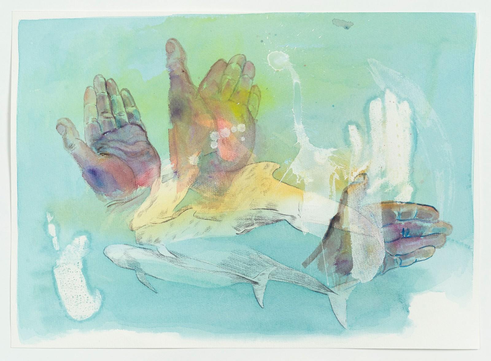 Kim Nekarda: untitled, 2020, watercolour, carbon & body print on paper, 41 x 57 cm