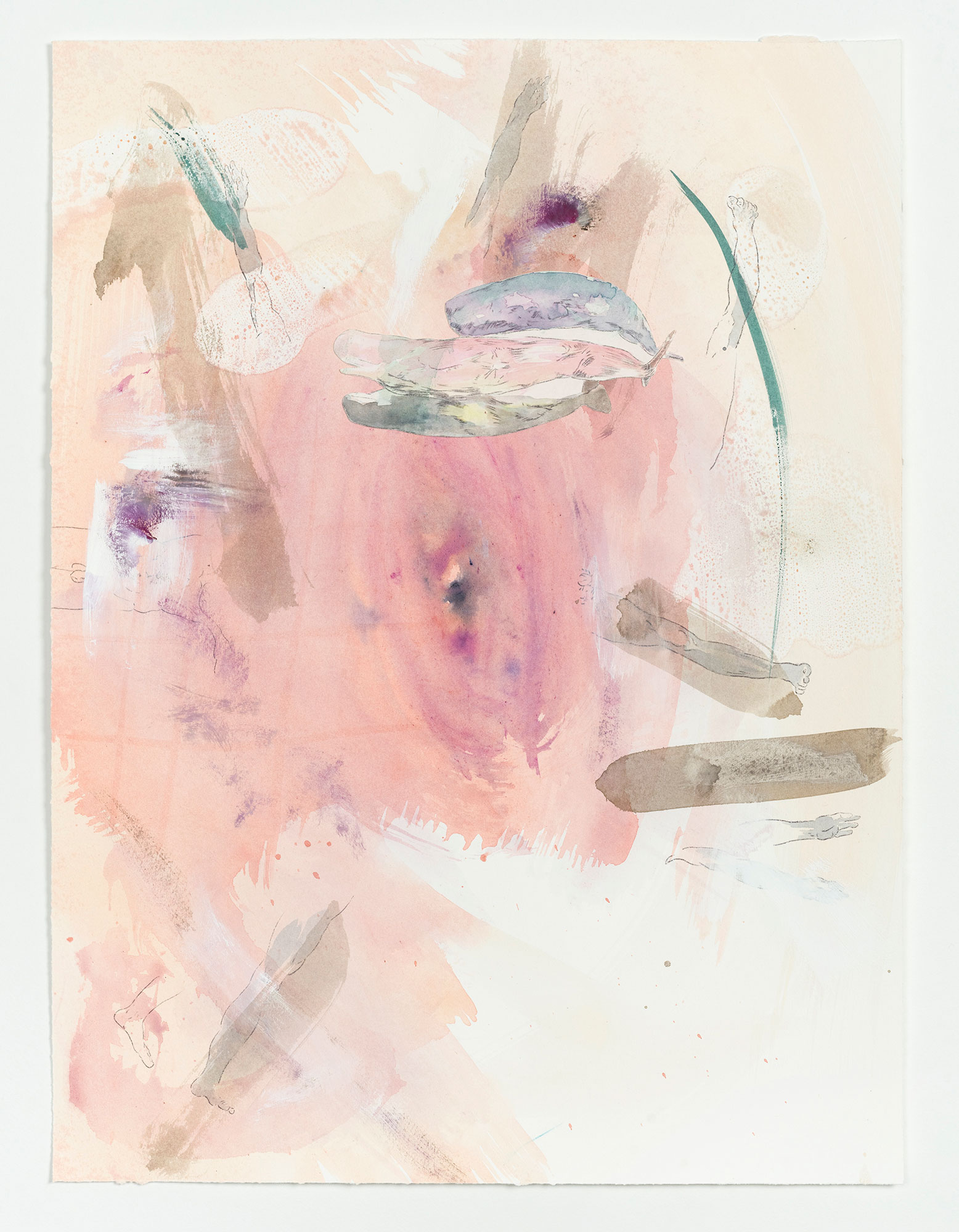 Kim Nekarda: untitled, 2020, watercolour, gouache, ink, carbon & body print on paper, 56 x 42 cm