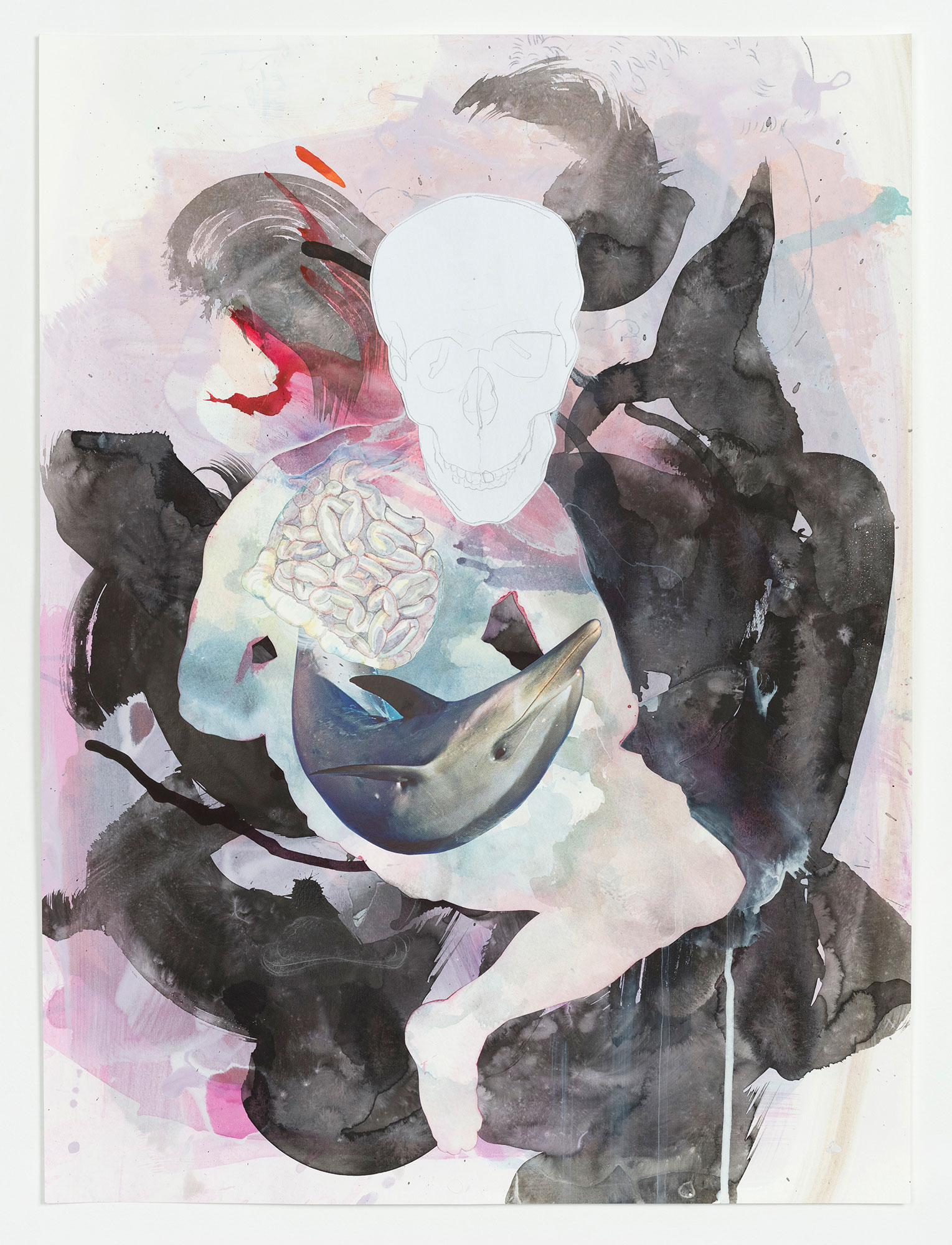 Kim Nekarda: untitled, 2020, watercolour, ink, carbon, pencil & photocopy on paper, 56,5 x 42 cm