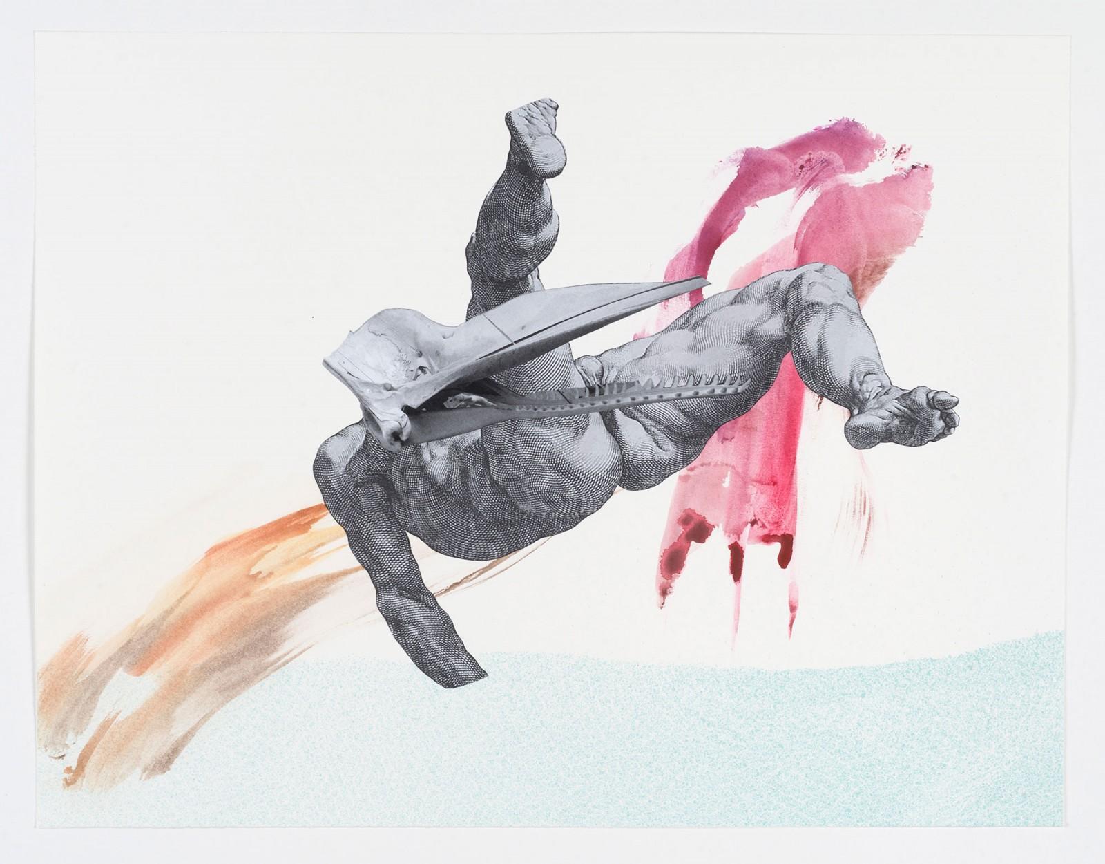 Kim Nekarda: untitled, 2021, watercolor, photocopy on paper, 43 x 56 cm