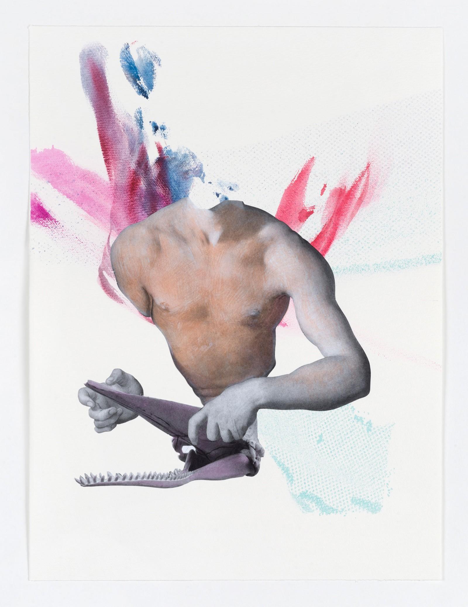 Kim Nekarda: untitled, 2021, watercolor, photocopy & ink on paper, 58 x 43 cm