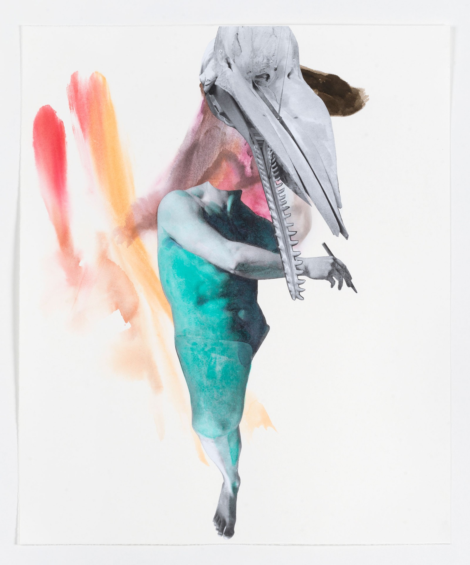 Kim Nekarda: untitled, 2021, watercolor, photocopy & ink on paper, 51 x 42 cm, private collection berlin