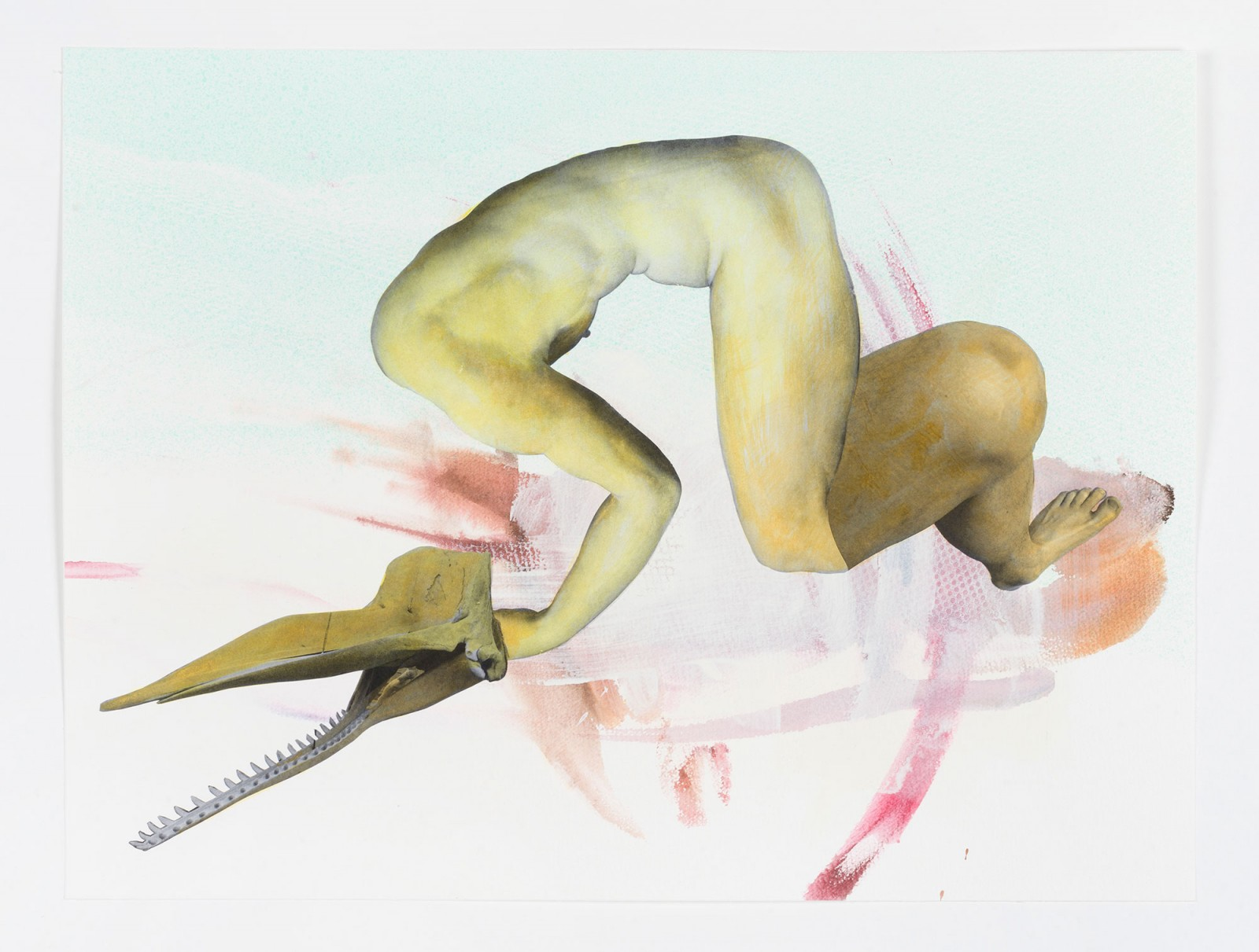 Kim Nekarda: untitled, 2021, watercolor, photocopy & ink on paper, 43 x 57 cm